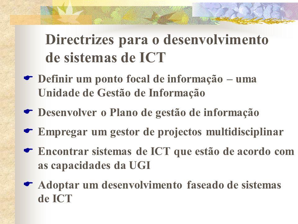 Directrizes para o desenvolvimento de sistemas de ICT Definir um ponto focal de informação – uma Unidade de Gestão de Informação Desenvolver o Plano d
