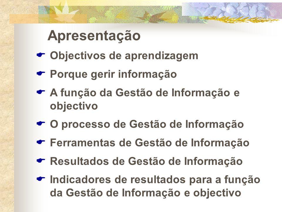 Apresentação Objectivos de aprendizagem Porque gerir informação A função da Gestão de Informação e objectivo O processo de Gestão de Informação Ferram