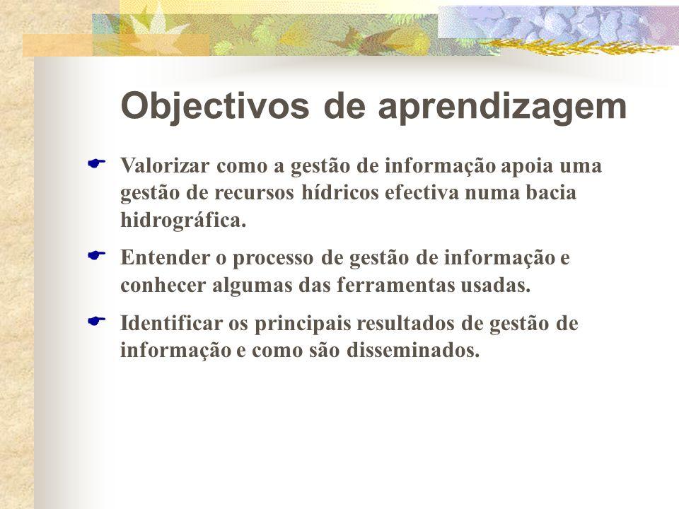 Objectivos de aprendizagem Valorizar como a gestão de informação apoia uma gestão de recursos hídricos efectiva numa bacia hidrográfica. Entender o pr