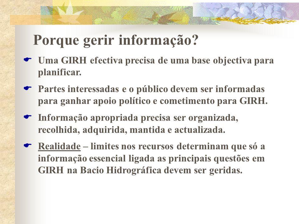 Porque gerir informação? Uma GIRH efectiva precisa de uma base objectiva para planificar. Partes interessadas e o público devem ser informadas para ga