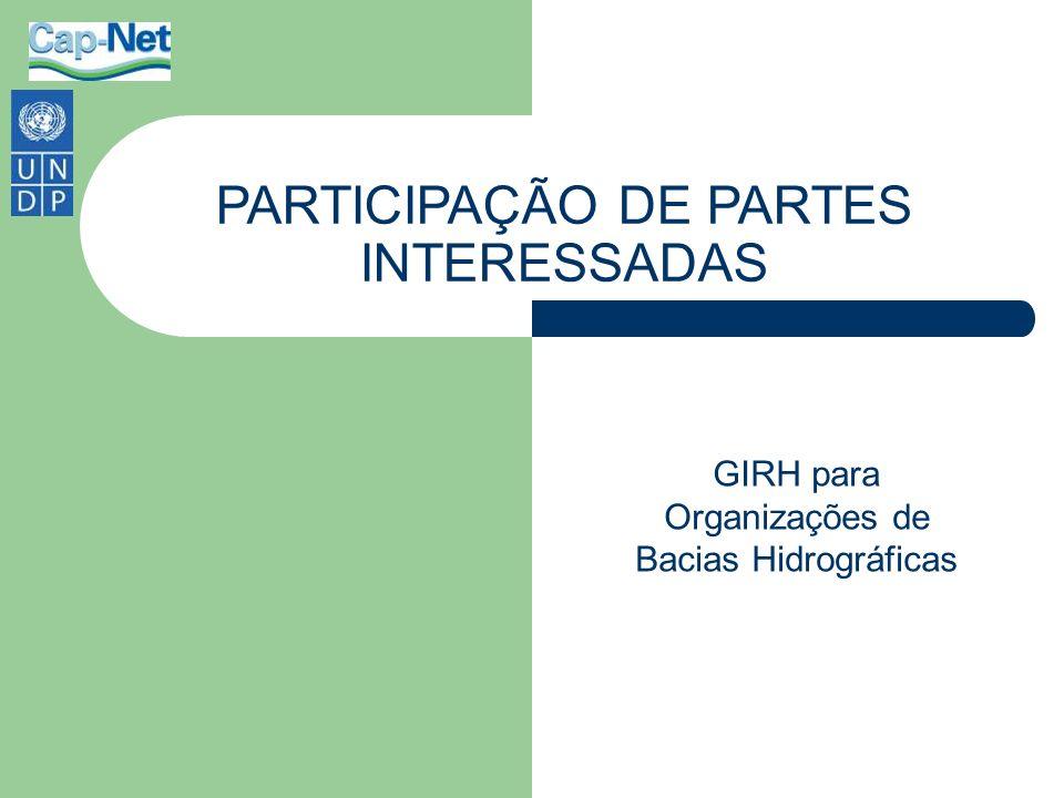 PARTICIPAÇÃO DE PARTES INTERESSADAS GIRH para Organizações de Bacias Hidrográficas