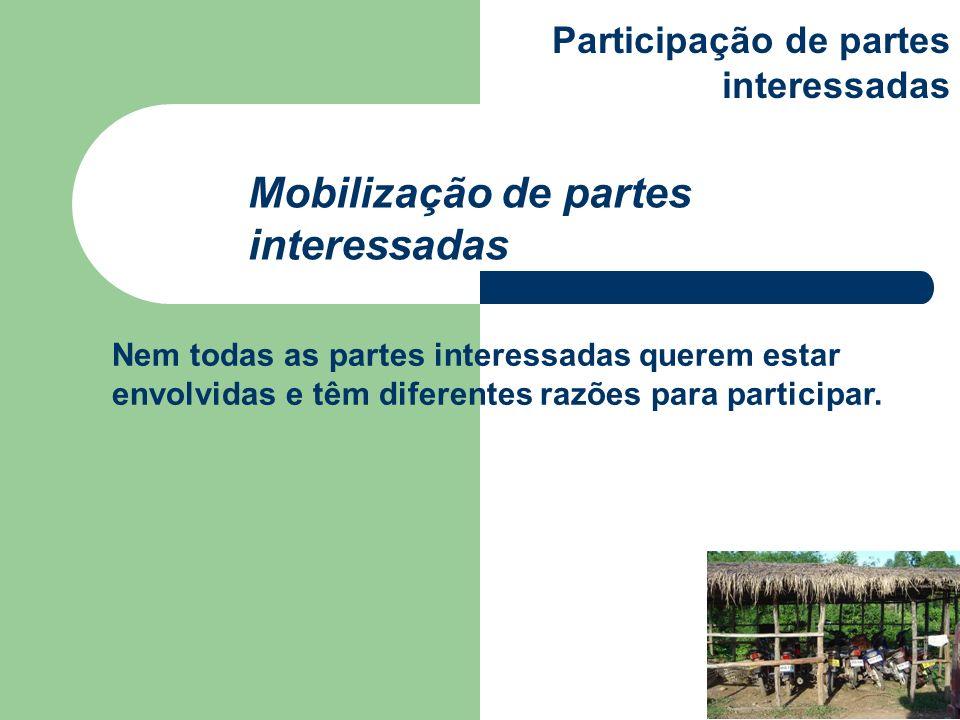 Nem todas as partes interessadas querem estar envolvidas e têm diferentes razões para participar. Mobilização de partes interessadas Participação de p