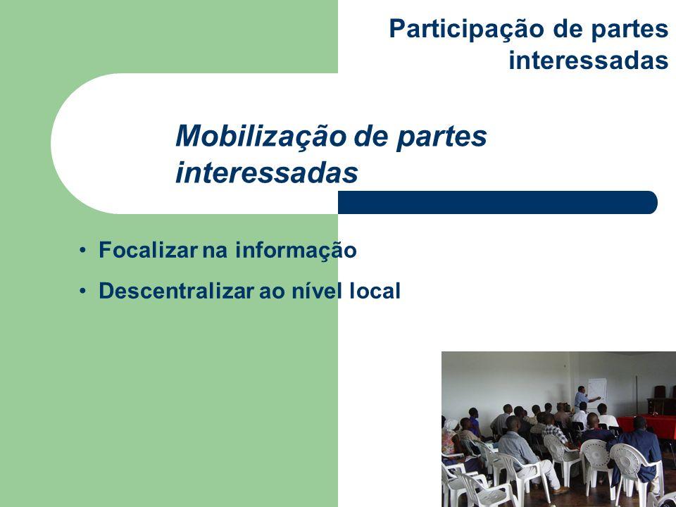 Focalizar na informação Descentralizar ao nível local Mobilização de partes interessadas Participação de partes interessadas