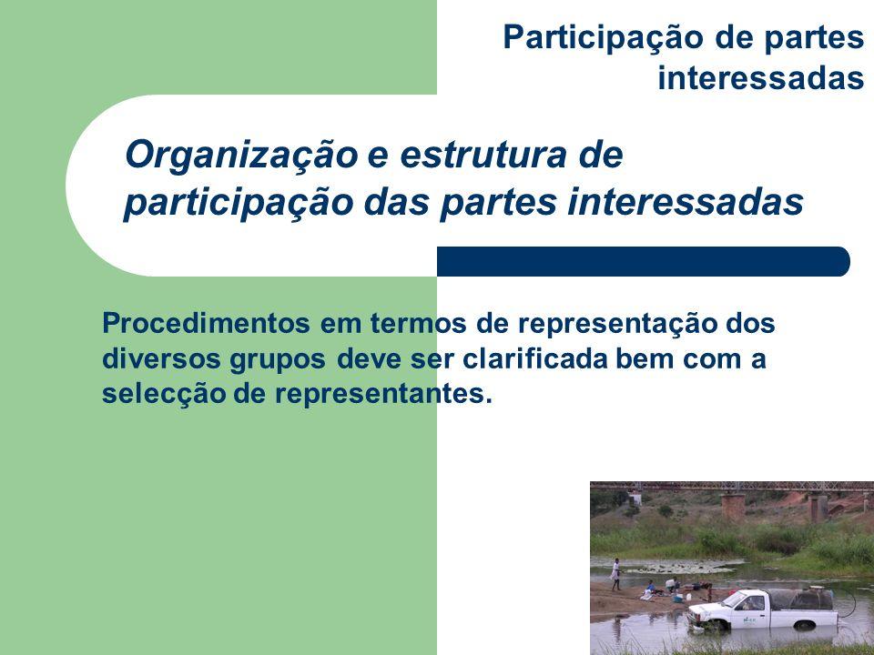 Procedimentos em termos de representação dos diversos grupos deve ser clarificada bem com a selecção de representantes. Organização e estrutura de par