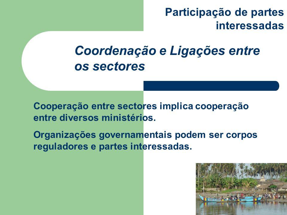 Cooperação entre sectores implica cooperação entre diversos ministérios. Organizações governamentais podem ser corpos reguladores e partes interessada