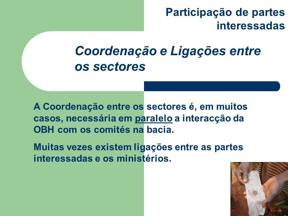 A Coordenação entre os sectores é, em muitos casos, necessária em paralelo a interacção da OBH com os comités na bacia. Muitas vezes existem ligações