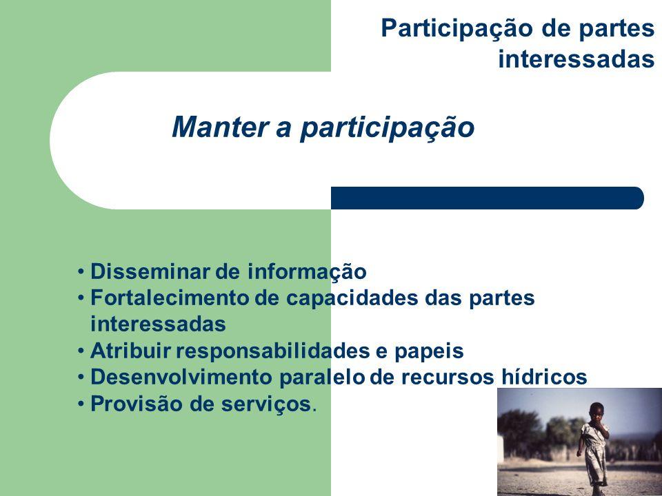 Disseminar de informação Fortalecimento de capacidades das partes interessadas Atribuir responsabilidades e papeis Desenvolvimento paralelo de recurso