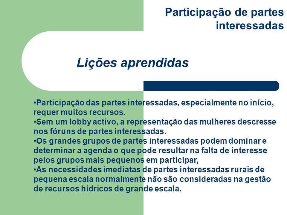 Participação das partes interessadas, especialmente no início, requer muitos recursos. Sem um lobby activo, a representação das mulheres descresse nos