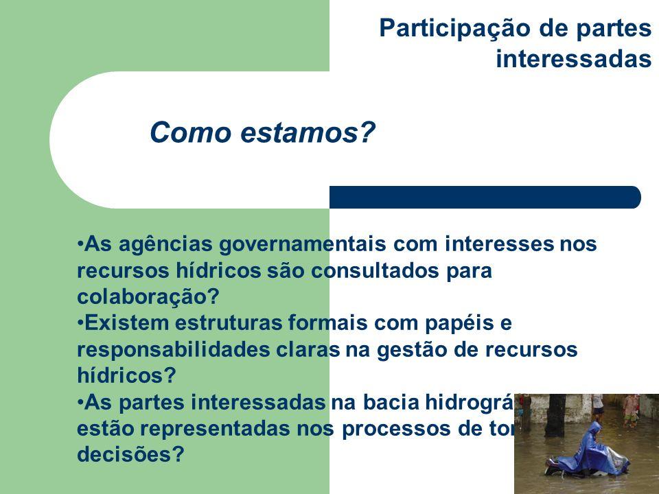 As agências governamentais com interesses nos recursos hídricos são consultados para colaboração? Existem estruturas formais com papéis e responsabili