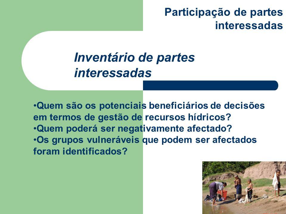 Quem são os potenciais beneficiários de decisões em termos de gestão de recursos hídricos? Quem poderá ser negativamente afectado? Os grupos vulneráve