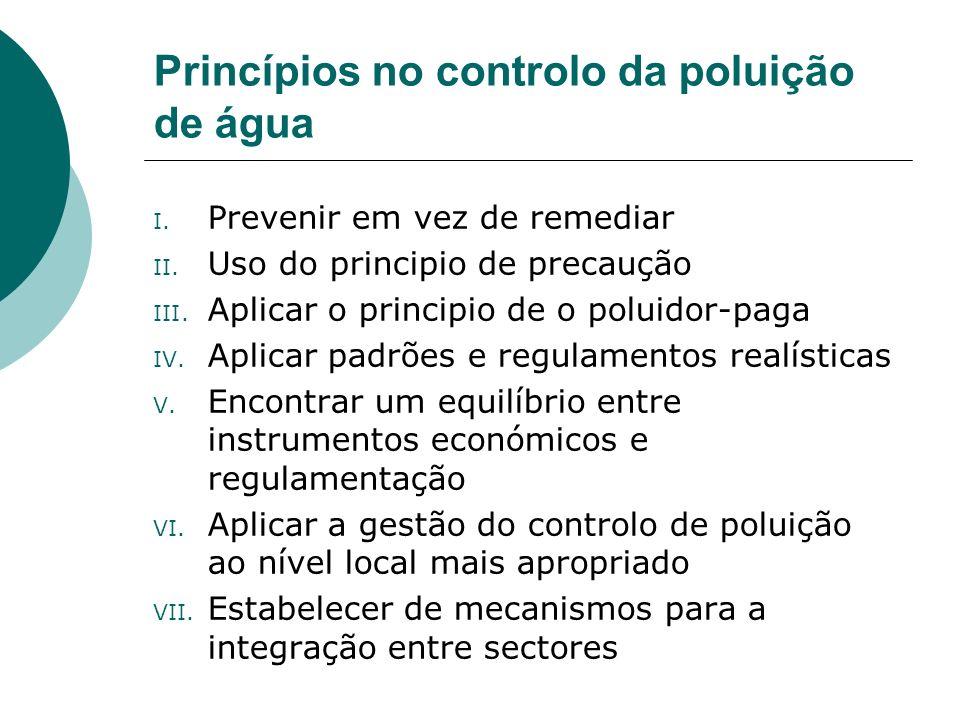 Princípios no controlo da poluição de água I. Prevenir em vez de remediar II. Uso do principio de precaução III. Aplicar o principio de o poluidor-pag