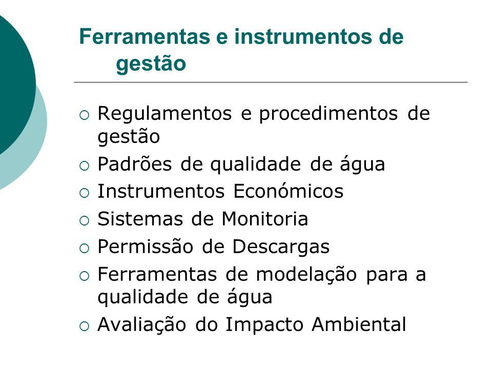 Ferramentas e instrumentos de gestão Regulamentos e procedimentos de gestão Padrões de qualidade de água Instrumentos Económicos Sistemas de Monitoria