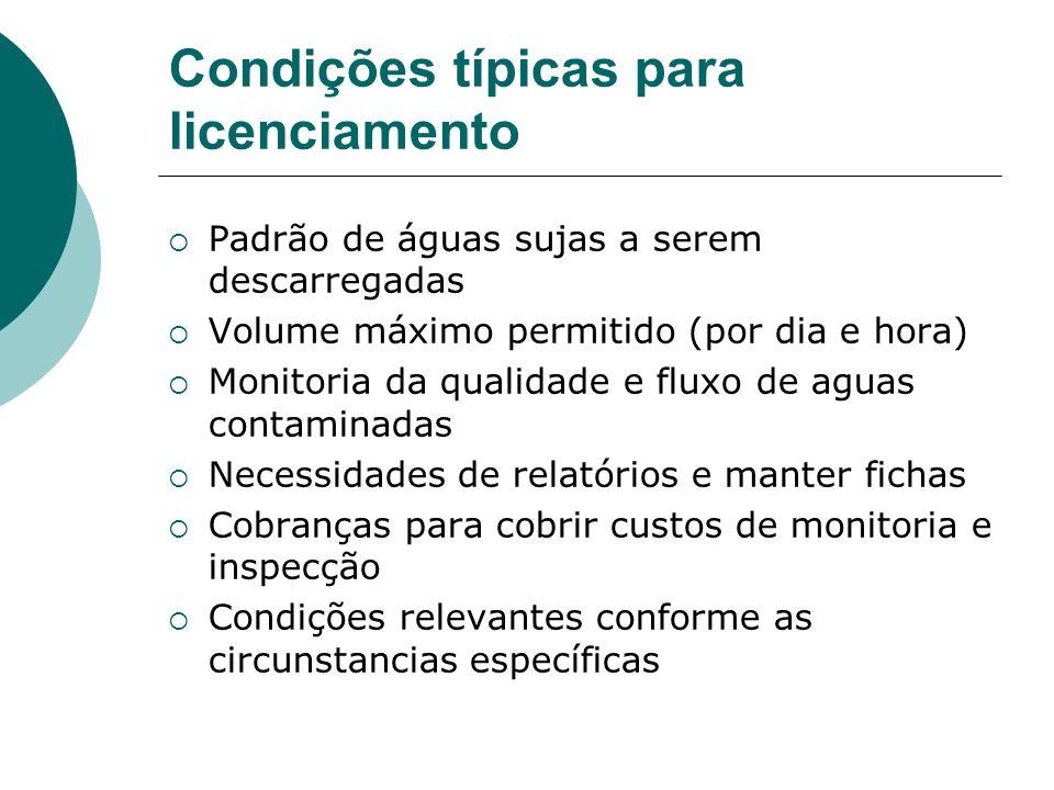 Condições típicas para licenciamento Padrão de águas sujas a serem descarregadas Volume máximo permitido (por dia e hora) Monitoria da qualidade e flu