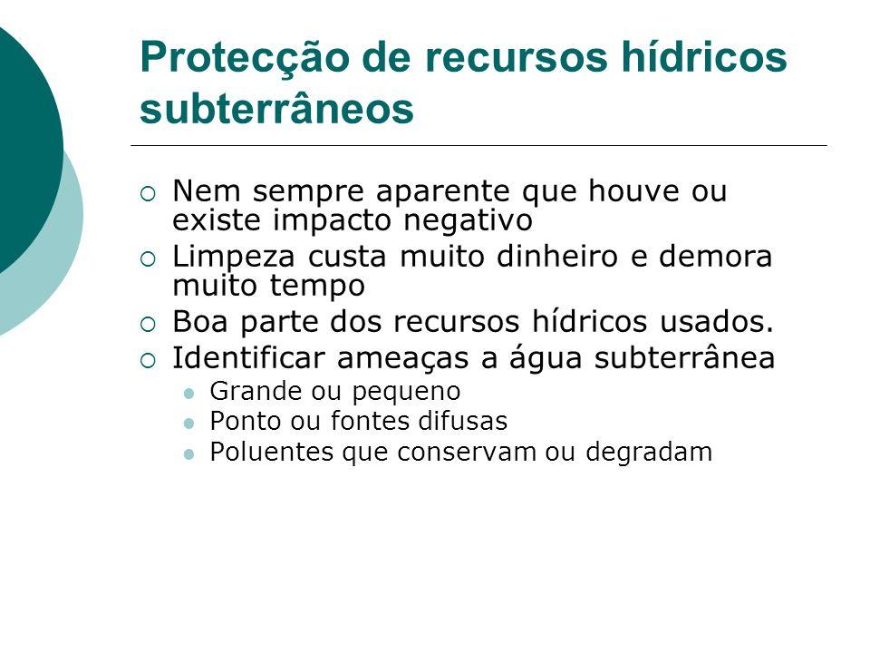 Protecção de recursos hídricos subterrâneos Nem sempre aparente que houve ou existe impacto negativo Limpeza custa muito dinheiro e demora muito tempo
