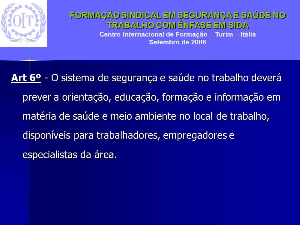FORMAÇÃO SINDICAL EM SEGURANÇA E SAÚDE NO TRABALHO COM ÊNFASE EM SIDA Centro Internacional de Formação – Turim – Itália Setembro de 2006 Art 6º - O si