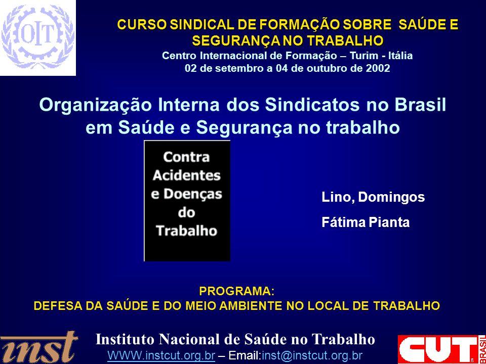 Instituto Nacional de Saúde no Trabalho WWW.instcut.org.brWWW.instcut.org.br – Email:inst@instcut.org.br CURSO SINDICAL DE FORMAÇÃO SOBRE SAÚDE E SEGURANÇA NO TRABALHO Centro Internacional de Formação – Turim - Itália 02 de setembro a 04 de outubro de 2002 Organização Interna dos Sindicatos no Brasil em Saúde e Segurança no trabalho Lino, Domingos Fátima Pianta PROGRAMA: DEFESA DA SAÚDE E DO MEIO AMBIENTE NO LOCAL DE TRABALHO