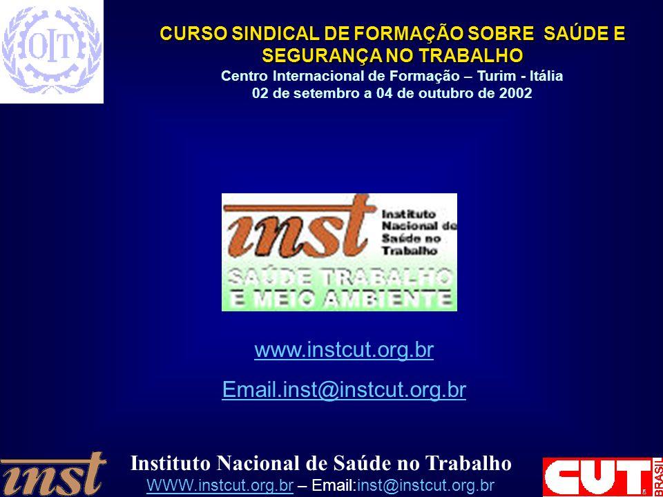 Instituto Nacional de Saúde no Trabalho WWW.instcut.org.brWWW.instcut.org.br – Email:inst@instcut.org.br CURSO SINDICAL DE FORMAÇÃO SOBRE SAÚDE E SEGURANÇA NO TRABALHO Centro Internacional de Formação – Turim - Itália 02 de setembro a 04 de outubro de 2002 www.instcut.org.br Email.inst@instcut.org.br