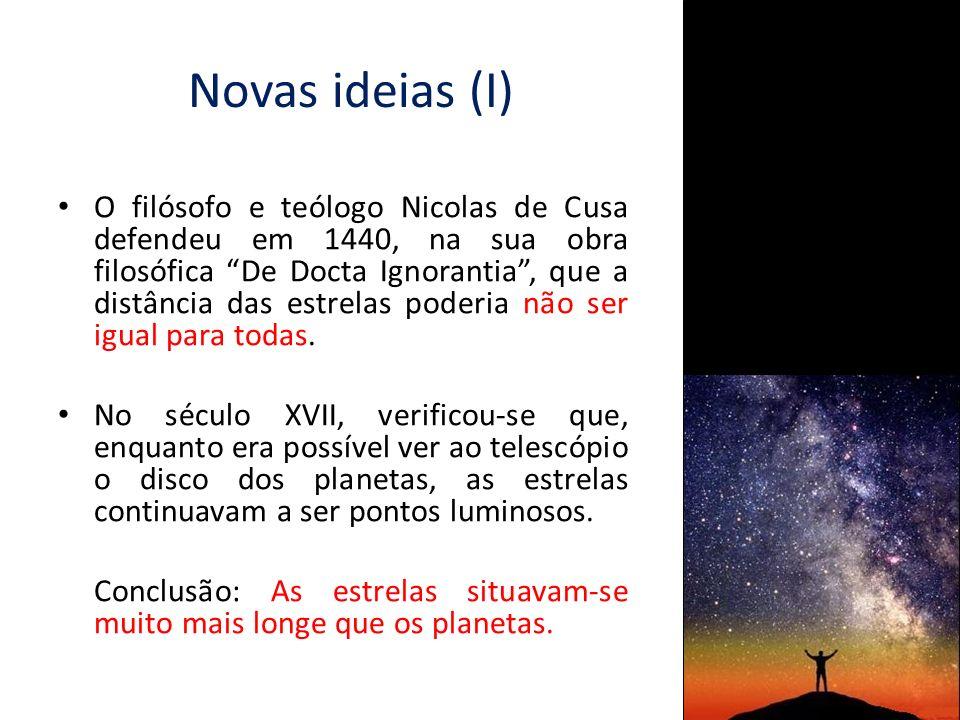 Novas ideias (II) No final do século XVII, fizeram-se as primeiras estimativas da distância de uma estrela.