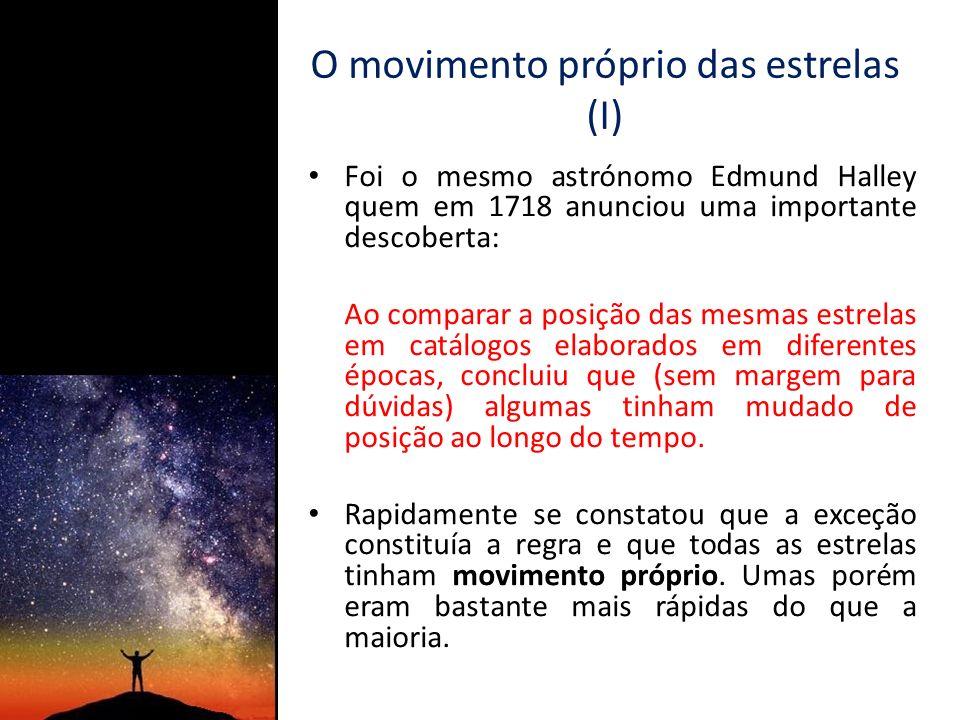 O movimento próprio das estrelas (II) Por exemplo, Sirius demora 1400 anos a percorrer no céu o equivalente ao diâmetro da Lua, ao passo que Betelgeuse precisa de 58.000 anos para efectuar a mesma deslocação.