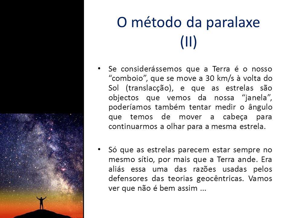 O método da paralaxe (III) É contudo preciso esperar que a Terra se desloque muitos milhões de km, para podermos notar alguma diferença na direção de qualquer estrela.