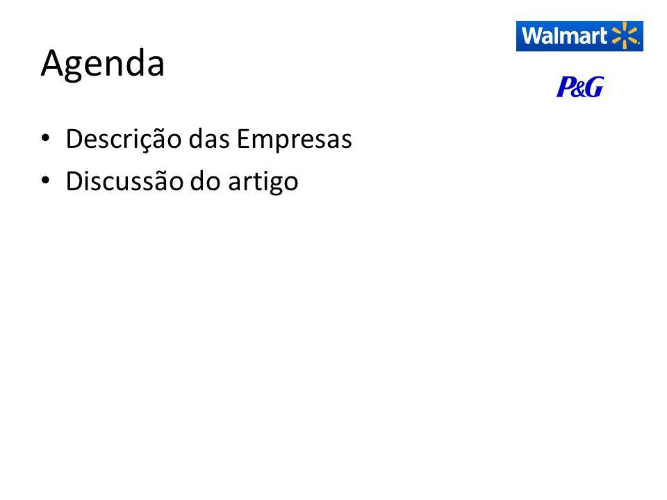Descrição das Empresas Walmart – Rede varejista multinacional – Iniciou suas atividades nos Estados Unidos da América em 1962 – Há 11 anos no Brasil – Figura na terceira posição do Ranking ABRAS de supermercados brasileiros – Principais Concorrentes - Brasil: Carrefour - francês Grupo Pão de Açúcar - franco-brasileiro