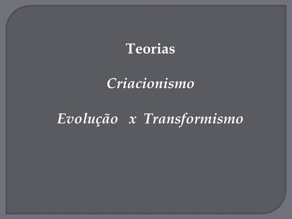 Teorias Criacionismo Evolução x Transformismo