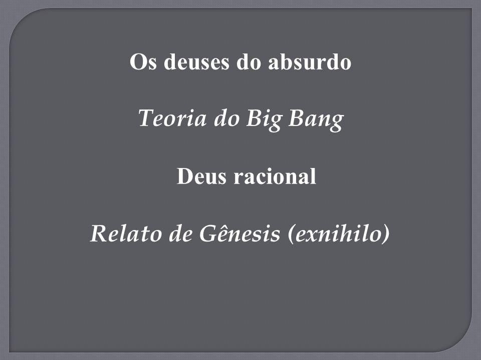 Os deuses do absurdo Teoria do Big Bang Deus racional Relato de Gênesis (exnihilo)
