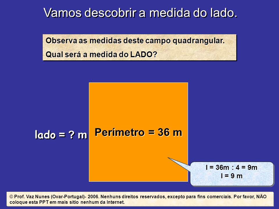 Vamos descobrir a medida do lado. Observa as medidas deste campo quadrangular. Qual será a medida do LADO? Observa as medidas deste campo quadrangular