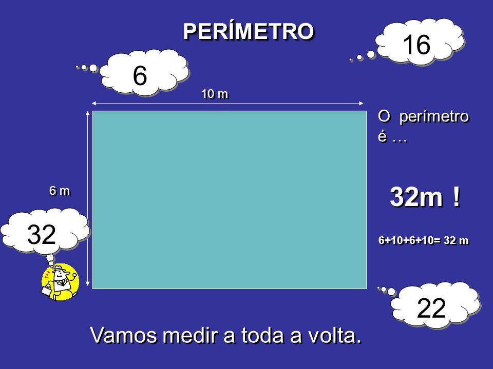 PERÍMETROPERÍMETRO 6 m 10 m O perímetro é … 32m ! 6 6 16 22 32 6+10+6+10= 32 m Vamos medir a toda a volta.