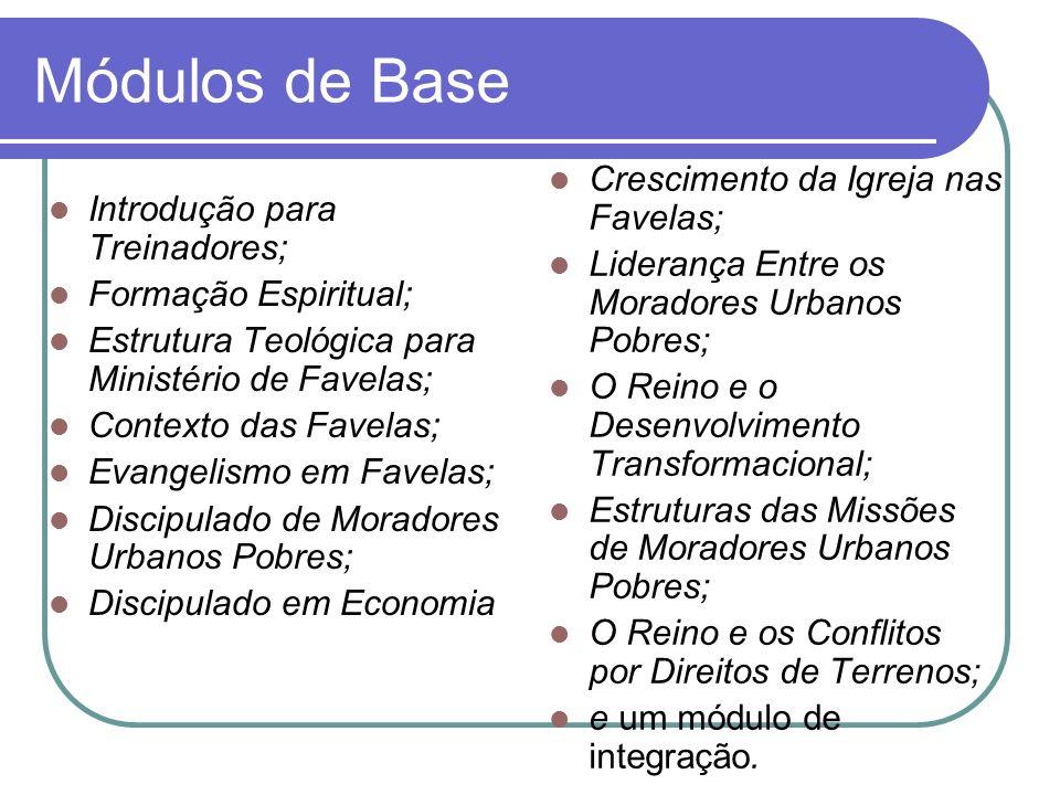 Módulos de Base Introdução para Treinadores; Formação Espiritual; Estrutura Teológica para Ministério de Favelas; Contexto das Favelas; Evangelismo em