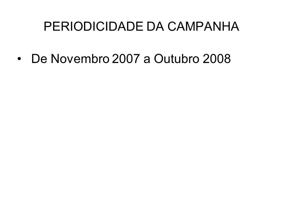 PERIODICIDADE DA CAMPANHA De Novembro 2007 a Outubro 2008