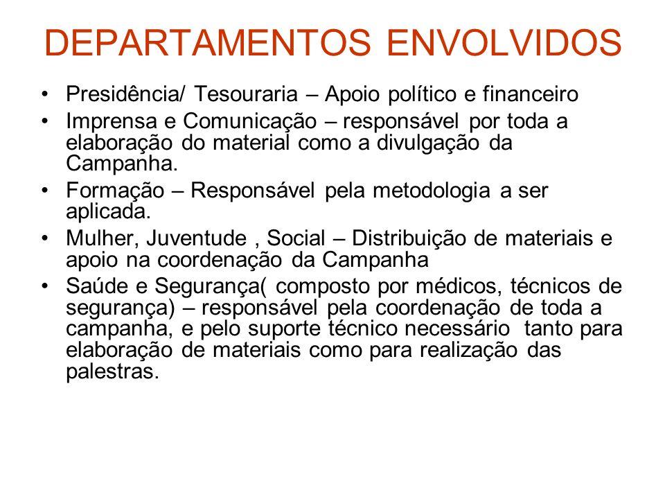 DEPARTAMENTOS ENVOLVIDOS Presidência/ Tesouraria – Apoio político e financeiro Imprensa e Comunicação – responsável por toda a elaboração do material
