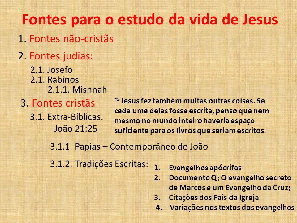 Fontes para o estudo da vida de Jesus 1. Fontes não-cristãs 2. Fontes judias: 2.1. Josefo 2.1. Rabinos 2.1.1. Mishnah 3. Fontes cristãs 3.1. Extra-Bíb