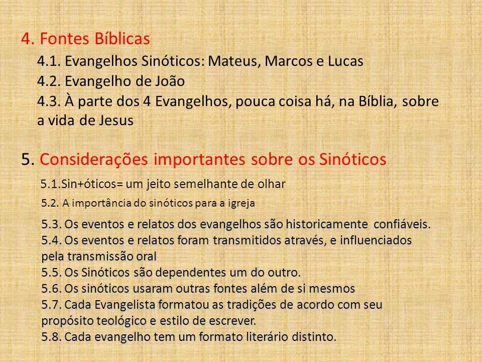 4. Fontes Bíblicas 4.1. Evangelhos Sinóticos: Mateus, Marcos e Lucas 4.2. Evangelho de João 4.3. À parte dos 4 Evangelhos, pouca coisa há, na Bíblia,