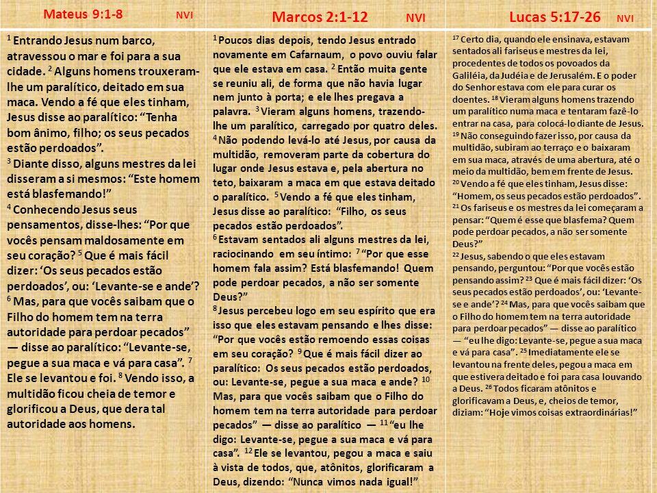 Mateus 9:1-8 NVI Marcos 2:1-12 NVI Lucas 5:17-26 NVI 1 Entrando Jesus num barco, atravessou o mar e foi para a sua cidade. 2 Alguns homens trouxeram-