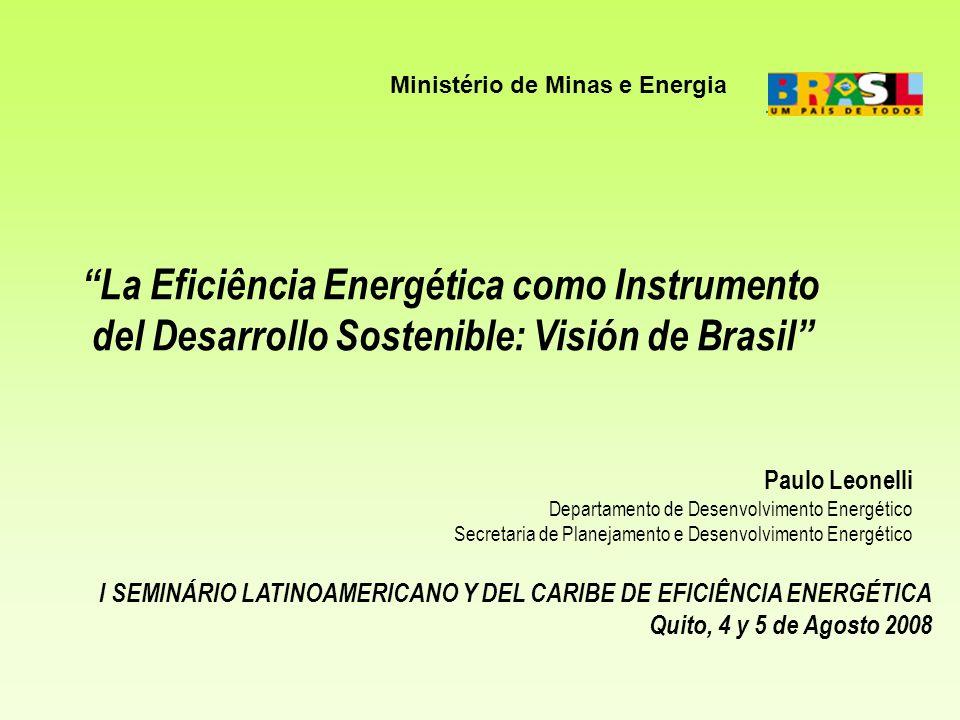 Brasil Área: 8.5 milhões km 2 População (*): 183,9 milhões (1 o abril 2007-IBGE) PIB: US$ 1.315 bilhões (**) PIB per capita: US$ 7.150 / hab Exportações: US$ 160,5 bilhões Importações: US$ 120,5 bilhões Consumo de Eletricidade: 411 TWh (**) Capacidade Instalada de geração: 100,7 GW Eletricidade per capita: 2.235 kWh / hab Produção de Petróleo: 1.833 mil bbl/dia Capacidade de Refino: 2.017 mil bbl/dia (2006) OIE per capita: 1,3 tep / hab (**) (*) incorpora resultados do último censo do IBGE (**) dados preliminares BRASIL 2007 INDICADORES GERAIS