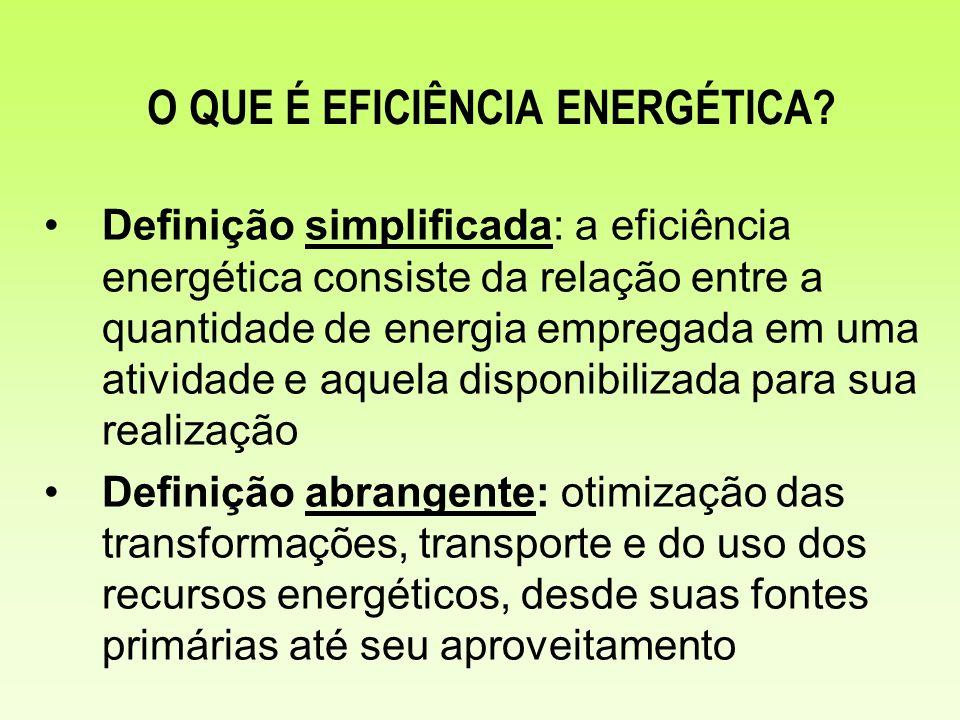 Definição simplificada: a eficiência energética consiste da relação entre a quantidade de energia empregada em uma atividade e aquela disponibilizada
