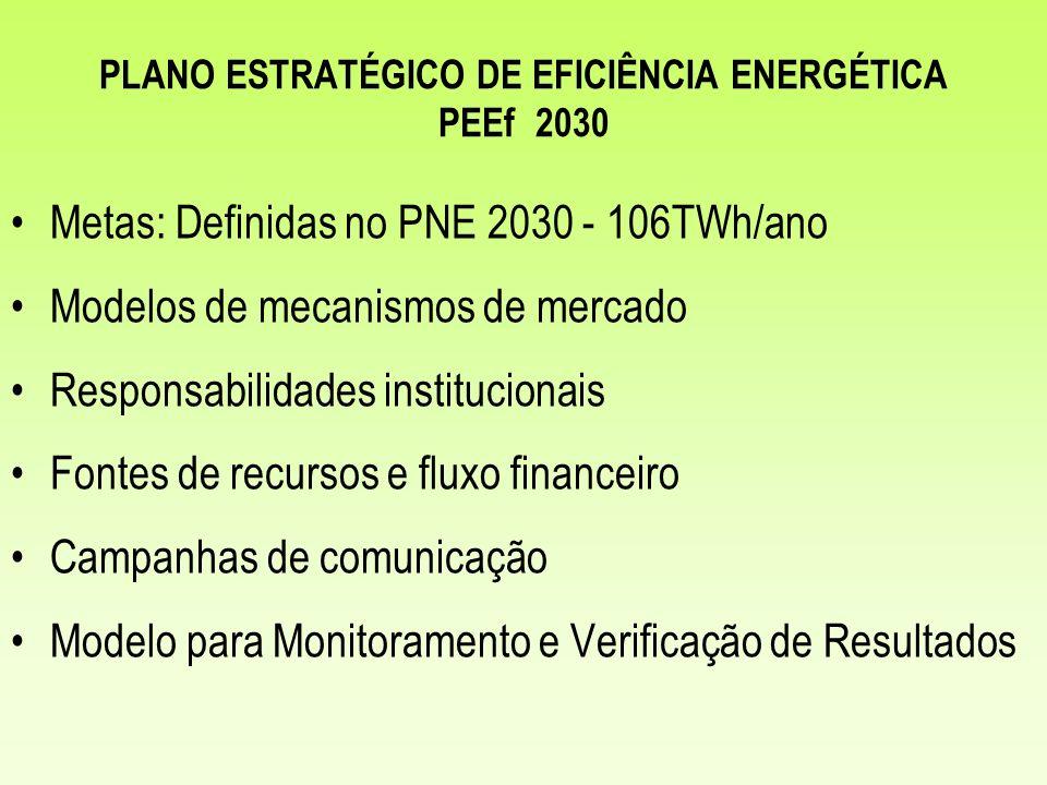 PLANO ESTRATÉGICO DE EFICIÊNCIA ENERGÉTICA PEEf 2030 Metas: Definidas no PNE 2030 - 106TWh/ano Modelos de mecanismos de mercado Responsabilidades inst