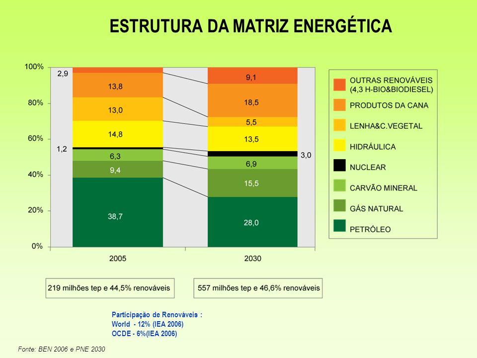 Fonte: BEN 2006 e PNE 2030 ESTRUTURA DA MATRIZ ENERGÉTICA Participação de Renováveis : World - 12% (IEA 2006) OCDE - 6%(IEA 2006)