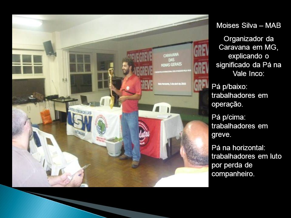 Moises Silva – MAB Organizador da Caravana em MG, explicando o significado da Pá na Vale Inco: Pá p/baixo: trabalhadores em operação. Pá p/cima: traba
