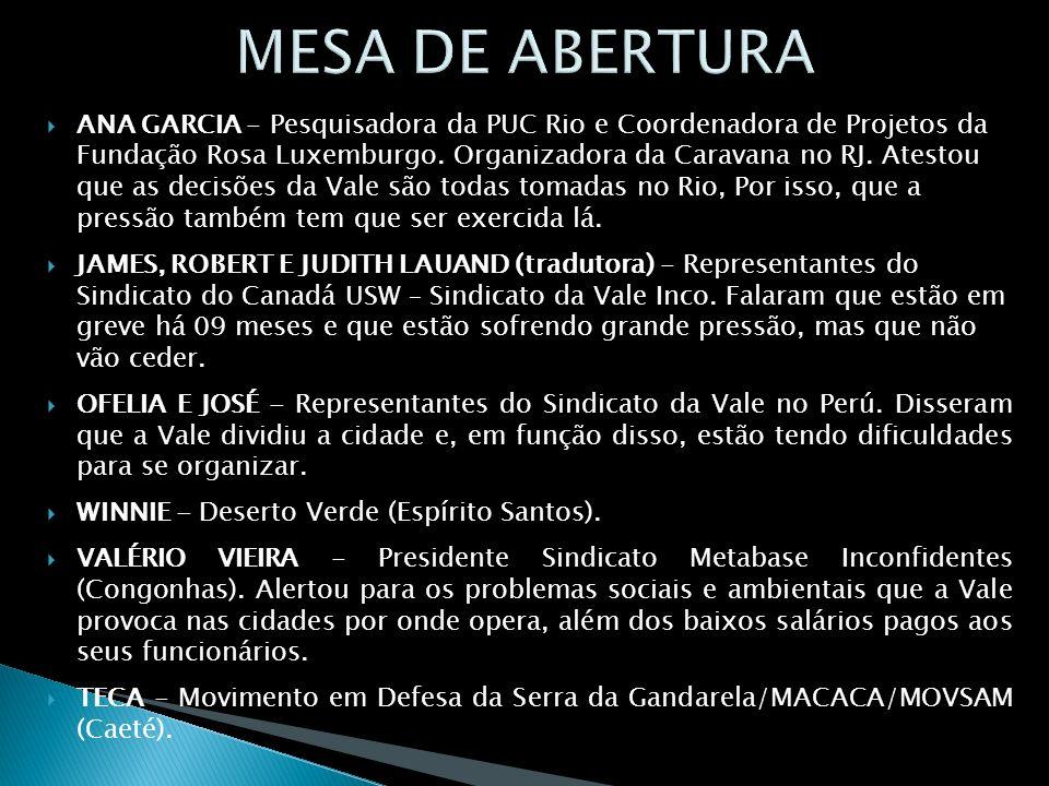 ANA GARCIA - Pesquisadora da PUC Rio e Coordenadora de Projetos da Fundação Rosa Luxemburgo. Organizadora da Caravana no RJ. Atestou que as decisões d