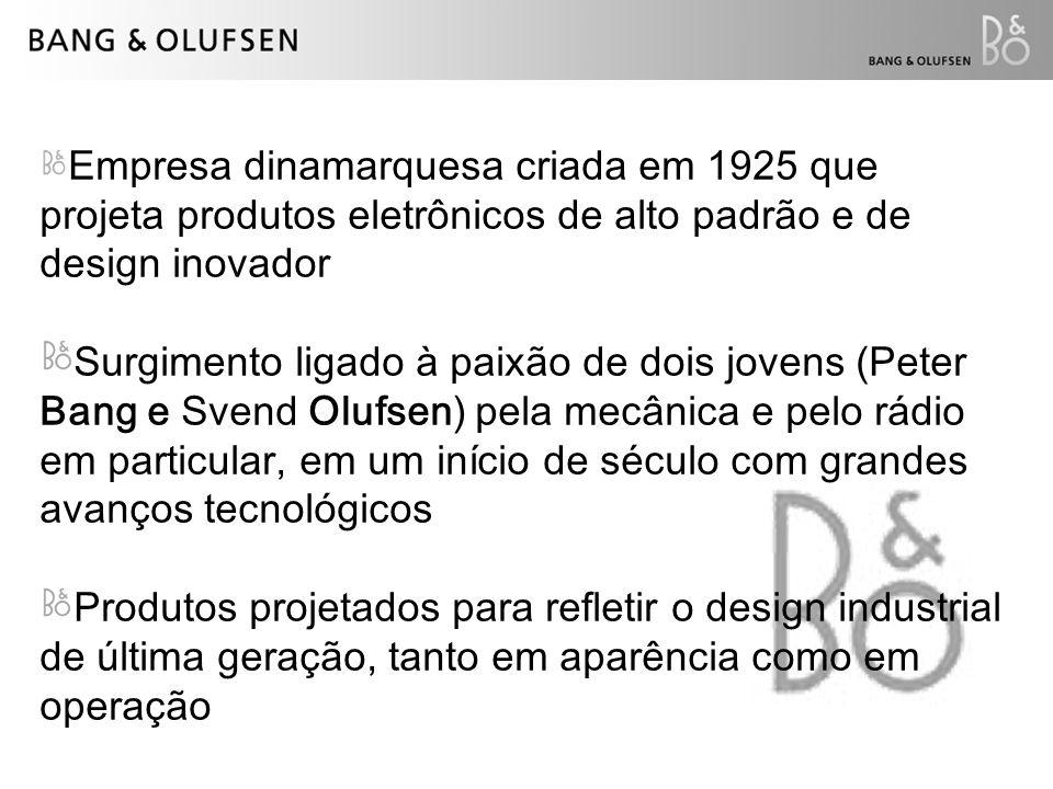 Empresa dinamarquesa criada em 1925 que projeta produtos eletrônicos de alto padrão e de design inovador Surgimento ligado à paixão de dois jovens (Pe