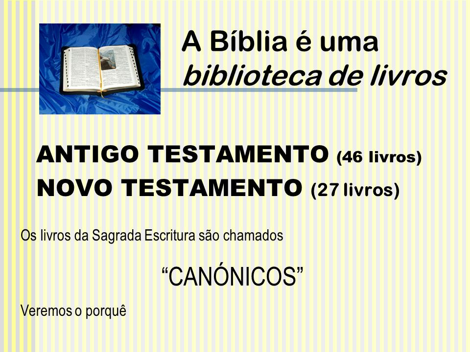 A Bíblia é uma biblioteca de livros ANTIGO TESTAMENTO (46 livros) NOVO TESTAMENTO (27 livros) Os livros da Sagrada Escritura são chamados CANÓNICOS Ve