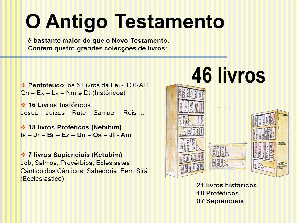 46 livros Pentateuco: os 5 Livros da Lei - TORAH Gn – Ex – Lv – Nm e Dt (históricos) 16 Livros históricos Josué – Juízes – Rute – Samuel – Reis … 18 l