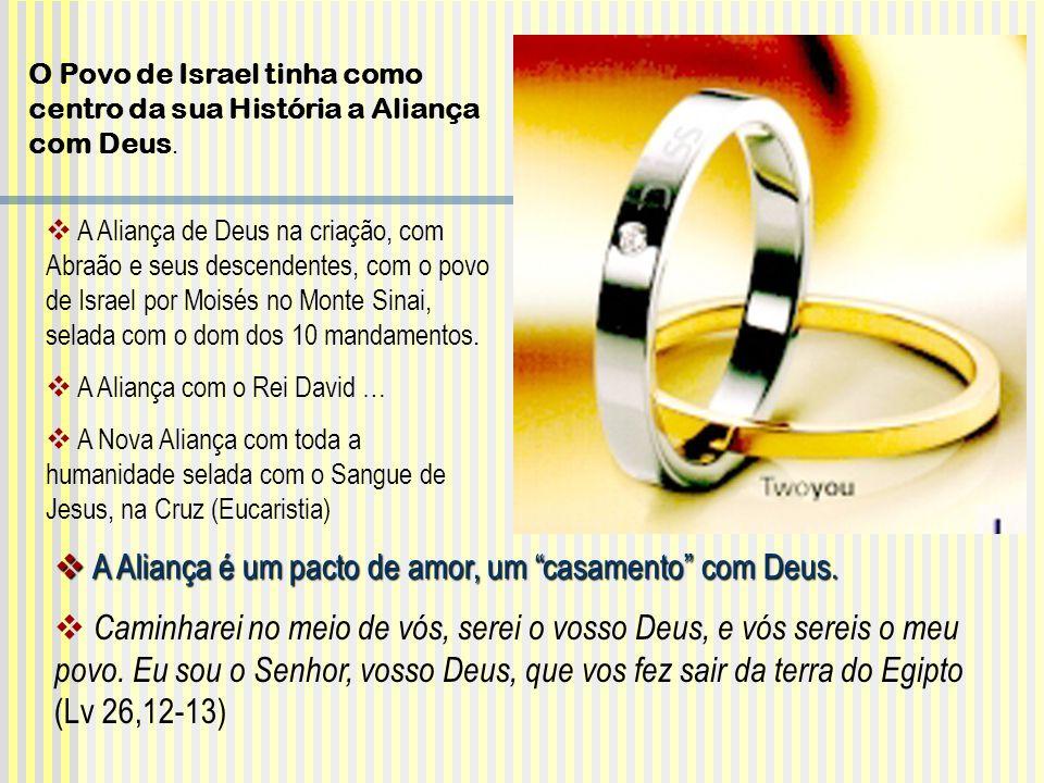 A Aliança de Deus na criação, com Abraão e seus descendentes, com o povo de Israel por Moisés no Monte Sinai, selada com o dom dos 10 mandamentos. A A