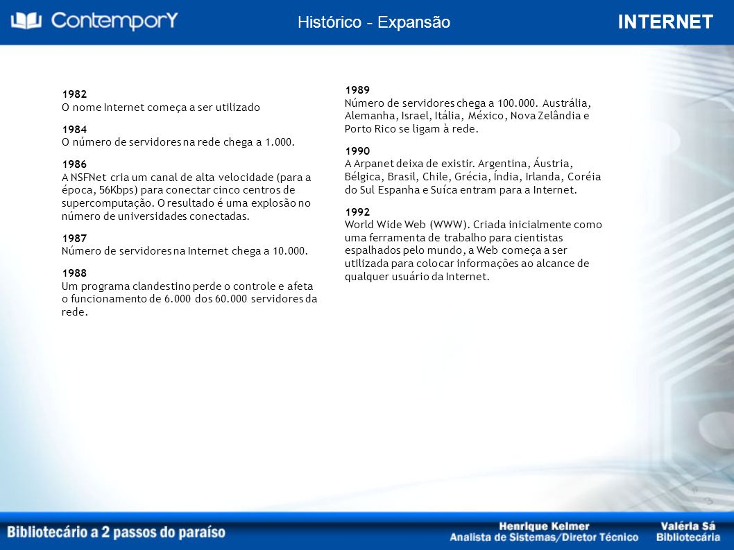 INTERNET Histórico - Futuro Voz / Vídeo / Computação / Comunicação Móvel; Redes sem fio; Sistemas de identificação eletrônica; Sistemas geoespaciais; TV digital interativa; Inteligência artificial.