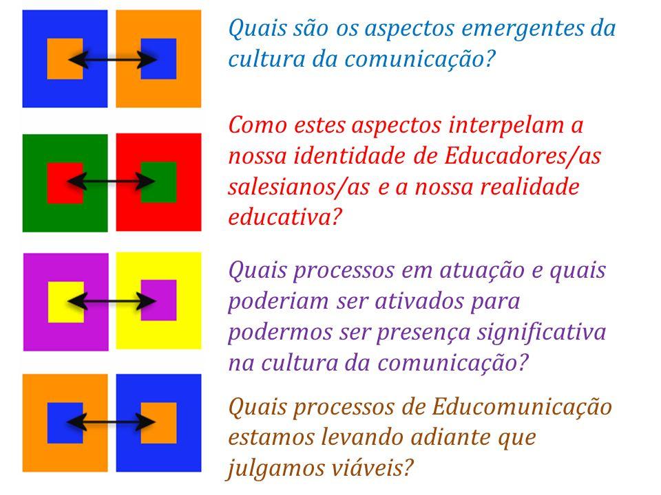 Quais são os aspectos emergentes da cultura da comunicação? Como estes aspectos interpelam a nossa identidade de Educadores/as salesianos/as e a nossa