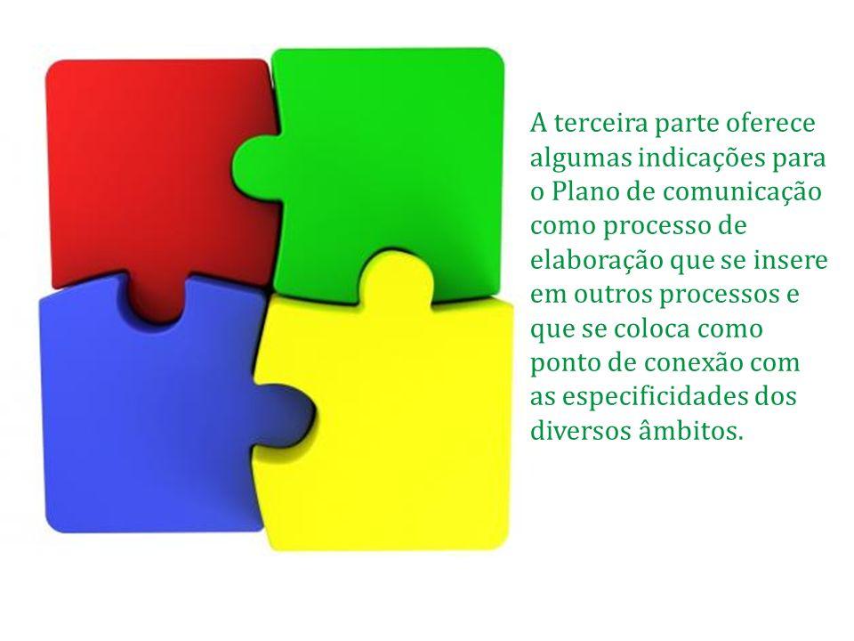 A terceira parte oferece algumas indicações para o Plano de comunicação como processo de elaboração que se insere em outros processos e que se coloca