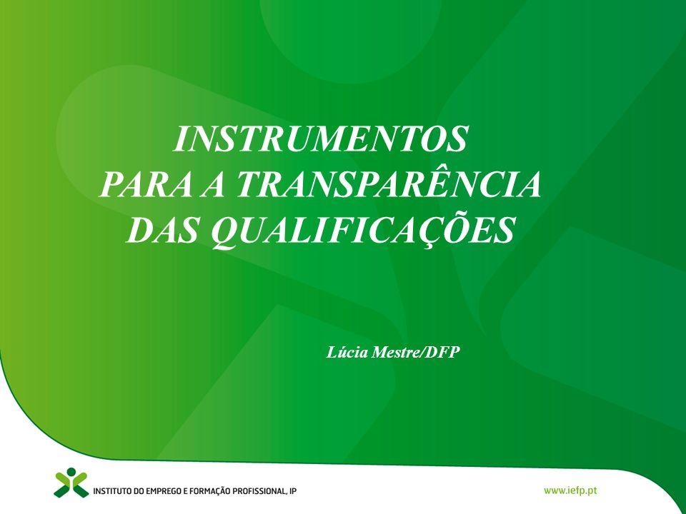 INSTRUMENTOS PARA A TRANSPARÊNCIA DAS QUALIFICAÇÕES Lúcia Mestre/DFP
