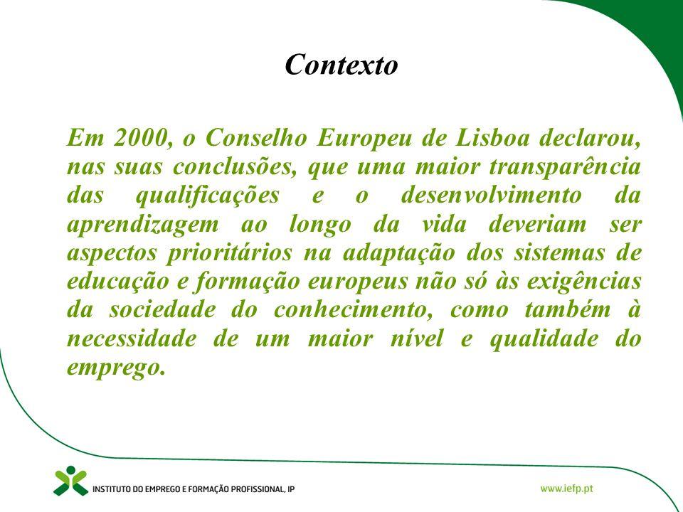 Contexto Em 2000, o Conselho Europeu de Lisboa declarou, nas suas conclusões, que uma maior transparência das qualificações e o desenvolvimento da apr